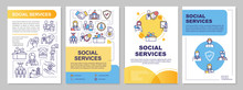 Social Service Brochure Template. Government Support. Flyer, Booklet, Leaflet Print, Cover Design With Linear Icons. Vector Layouts For Magazines, Annual Reports, Advertising Posters