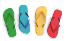 Colorful Flip Flops Isolated O...