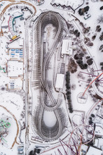 Aerial View Of Roller Coaster Cover By Snow During The Winter, United States.