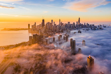 Aerial View Of Fog Covering Over Chicago Skyscraper During Sunset