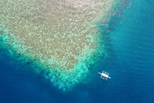 Aerial View Of  Reef With Boat...