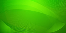 Abstract Background Made Of Halftone Dots And Curved Lines In Green Colors