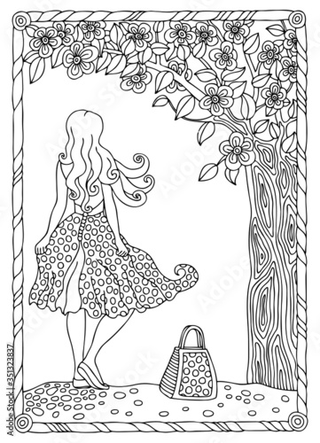 Beautiful girl with long hair standing under a blooming cherry tree. Hand drawn picture. Sketch for anti-stress adult coloring book in zen-tangle style. Vector illustration  for coloring page. Wall mural