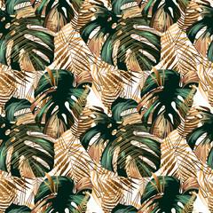 Panel Szklany Podświetlane Liście Seamless jungle background