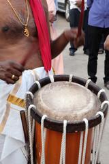 Fototapeta na wymiar Chenda Melam - Kerala Traditional Music, Drummers of Kerala, (Temple Musics playing with Traditional Drums), Artists in Temple (Photo © Saji Maramon)