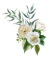 White Flowers Bouquet, Roses And Leaves, Hand Drawn