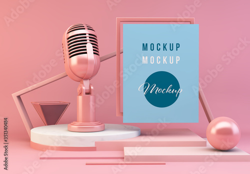 Fototapeta Pink Abstract Composition Mockup with Microphone obraz