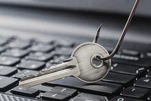 Phishing  Personal Data , Key And Hook On Computer Keyboard.