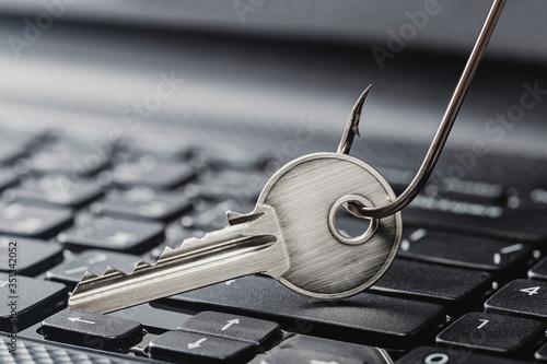 Billede på lærred phishing  personal data , key and hook on computer keyboard.