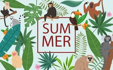 Monkeys And Tropical Leaves An...