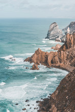 Portugal, Lisbon District, Sintra, High Angle View Of Cliffs Of?Cabo?da?Roca