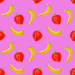 Leinwandbild Motiv gouache seamless pattern with fruits and berries bananas and strawberry on a pink background, vegetarian pattern for for diet, healthy eating. Use as restaurant menu, packaging, product design,textile