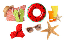 Set Of Different Stylish Beach Objects On White Background