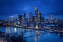 Germany, Hesse, Frankfurt, Skyline With River Main, Blue Hour