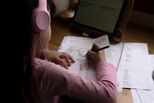 Girl Wearing Headphones Drawin...