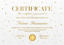 Certificate Template With Golden Stars ,line Pattern And Gold Emblem. White Holiday Background Useful For Diploma, Certificate Of Appreciation, Award Design