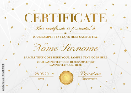 Certificate template with golden stars ,line pattern and gold emblem Canvas Print
