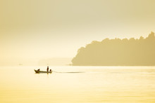 A Fishing Boat On A Calm Sea, ...