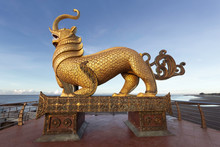 The Bya La Statue At The Sittwe Viewpoint Park, Viewpoint Beach And The Bay Of Bengal In The Background, Sittwe, Rakhine, Myanmar (Burma), Asia
