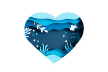 Paper Cut For World Ocean Day Deep Underwater Sea. Blue Marine Life. Save The Oceans Papercut With Fish And Seaweeds On Blue Sea Water Background. Environment Care