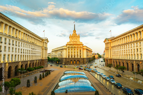 View by drone of National Assembly building, Sofia, Bulgaria, Europe - 351362492