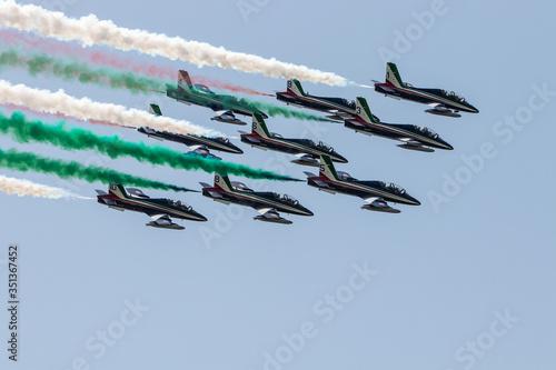 Vászonkép The tricolor arrows of the Italian Air Force