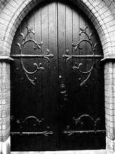 Full Frame Shot Of Closed Door At Church