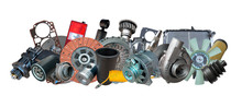 Big Collection Of Auto Spare Parts For Maintenance And Car Repair. Borders Of Car Parts.
