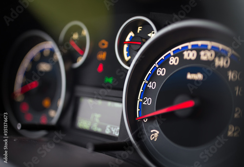 Obraz Speedometer on car dashboard - fototapety do salonu