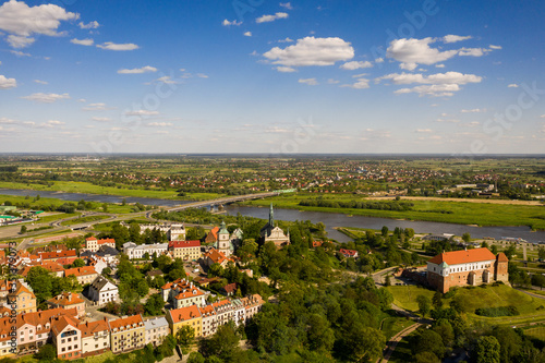 Fototapeta Sandomierz city landscape - historical Polish city - aerial view obraz na płótnie