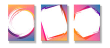 Banner Poster Flyer Graphic Frame On A Bright Gradient Background Set Modern Youth Concept Ads Music Party Sale Trendy Colorful Gradient Background Poster Flyer Cover Summer Color Youth Theme Vector