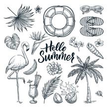 Hello Summer Hand Drawn Callig...