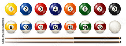 Billiard, pool balls with numbers collection Fotobehang