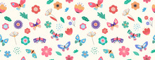 Summer Seamless Pattern, Banner With Butterflies And Flowers