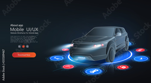 Smart HUD or intelligent car future concept Canvas Print