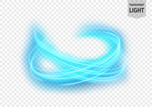 Abstract Blue Wavy Line Of Light On A Bright Transparent Background, Isolated And Easy To Edit. Vector Illustration