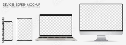 Obraz Set of realistic mockup of computer monitors, laptops, tablets and mobile phones. Isolated devices with editable screen on white background - fototapety do salonu