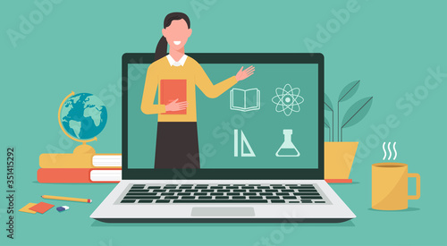 E-learning or online education, home school, woman teacher teaching on computer laptop screen, distance learning, online course concept, new normal, vector flat illustration