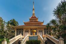 Wat Hin Mak Peng, Buddhist Temples And Peaceful Tourist Attractions Along The Mekong River At Nong Khai, Thailand.