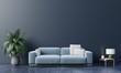 Leinwanddruck Bild Modern living room interior with sofa and green plants,lamp,table on dark wall background.