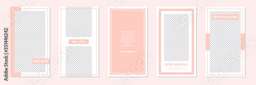 Photo Slides Abstract Unique Editable Modern Social Media Pastel Peach Pink Soft Cute Banner Template