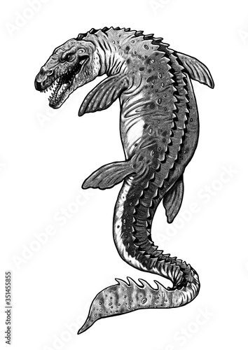Aquatic prehistoric reptile - Mosasaurus. Aquatic dinosaur. Wallpaper Mural
