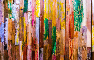 Full Frame Shot Of Colorful Wooden Wall
