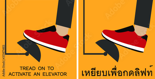 Flat vector isolated design of the new normal using foot pedals to activate an elevator Canvas Print