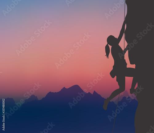 Fototapeta A Rock Climber, Mountaineering, Mountaintop, Sunset  obraz