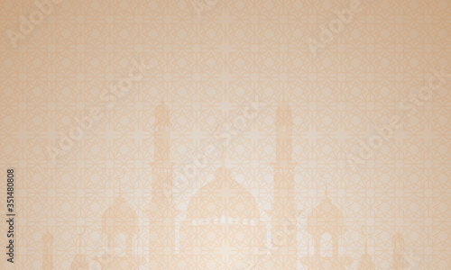 Photo islamic background with hanging lights and pastel colors, light brown color, eid mubarak background, ramadan and islamic religion wallpaper