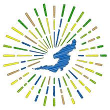 Sketch Map Of Bequia. Sunburst...