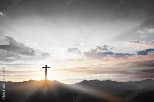 Obraz na plátně Christmas concept: Crucifixion Of Jesus Christ Cross At Sunset