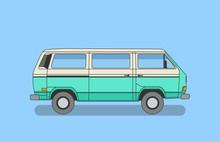Detailed Retro, Vintage, Travel, Camper Van, On White Background. Roud Badge Vintage Van Car. Round Sticker Van Life.
