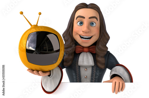 3D Illustration of a cartoon man in historical baroque costume Canvas Print